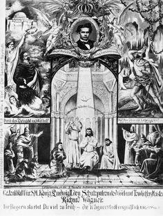 Munich et la Bavière, Louis II et Richard Wagner: Bayreuth 1882 -Gedenkblatt König Ludwigs - Image s...