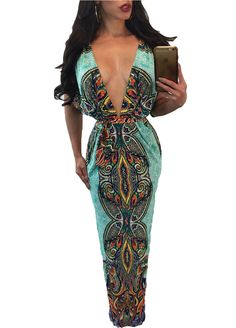 Stylish Print Plunging V Maxi Dress_Maxi Dress_Dresses_Sexy Lingeire | Cheap Plus Size Lingerie At Wholesale Price | Feelovely.com