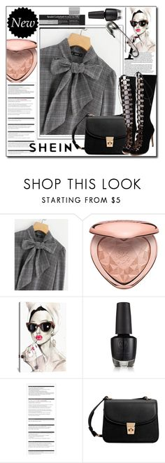 """""""SHEIN Bow Tie Neck Plaid Blouse"""" by majaa12 ❤ liked on Polyvore featuring Too Faced Cosmetics, iCanvas, Arche, MANGO and WithChic"""
