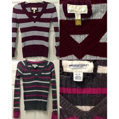 *PRICE DROP & $1.99 SHIPPING* bundled AE v-necks 2 American Eagle V-Neck striped sweaters just in time for the cold weather! One is burgundy and gray and the other is pink and gray. Cute and comfy with jeans and boots❄️ American Eagle Outfitters Sweaters V-Necks