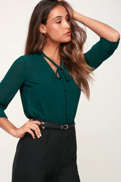Sharpen your pencils because you're about to be schooled in style by the Lulus Style Education Dark Green Blouse! Sheer woven fabric forms this collarless blouse with a neck tie and full loop button placket. Darted, relaxed-fit bodice ends in a slight high-low hem with notched sides. Long sleeves with button cuffs. Green Blouse Outfit, Black Dress Outfits, Green Outfits, Business Casual Outfits, Business Fashion, Office Outfits, Blue Long Sleeve Tops, Sexy Blouse, Fall Dresses