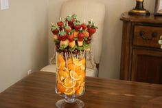 how to make a fruit tray for baby shower | This creative fruit centerpiece was made by Kristin Hanks.