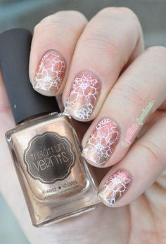 Nailpolis Museum of Nail Art | gold and coral floral gradient by nathalie lapaillettefrondeuse