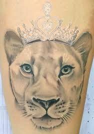 Lioness tattoo design, lion and lioness tattoo, female lion tattoo Lion Tattoo With Crown, Lion And Lioness Tattoo, Lioness Tattoo Design, Female Lion Tattoo, Crown Tattoos For Women, Crown Tattoo Design, Leo Tattoos, Arrow Tattoos, Couple Tattoos