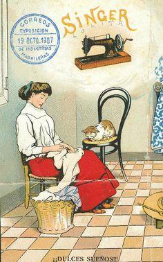 Vintage Spanish advertising poster for Singer sewing machine Más Vintage Labels, Vintage Cards, Vintage Postcards, Vintage Pictures, Vintage Images, Couture Vintage, Vintage Sewing Notions, Sewing Cards, Antique Sewing Machines