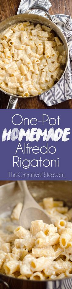 One-Pot Homemade Alfredo Rigatoni is an easy vegetarian dinner idea with a rich Parmesan and cream sauce with tender rigatoni pasta for a comforting meal that tastes amazing! (One Pot Chicken Alfredo) Easy Vegetarian Dinner, Vegetarian Recipes, Cooking Recipes, Healthy Recipes, Skillet Recipes, Best Pasta Dishes, Pasta Dinner Recipes, Dinner Dishes, Al Dente