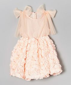 Another great find on #zulily! Peach Rosette Babydoll Dress - Infant, Toddler & Girls #zulilyfinds