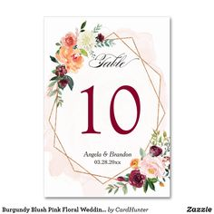 """Burgundy Blush Pink Floral Wedding Table Number Burgundy Blush Pink Floral Wedding Table Number Card.   (1) Please customize this template one by one (e.g, from number 1 to xx) , and add each number card separately to your cart.   (2) For further customization, please click the """"customize further"""" link and use our design tool to modify this template.   (3) If you need help or matching items, please contact me. #weddings"""