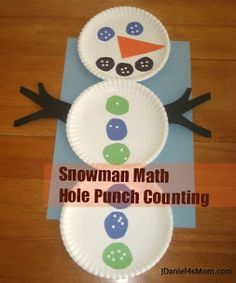Preschool Math- Snowman Hole Punch Counting Create the buttons and facial elements on a snowman while working on counting! Preschool Themes, Preschool Learning, Preschool Activities, Book Activities, Classroom Crafts, Classroom Fun, Winter Fun, Winter Theme, Winter Ideas