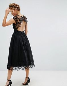 Chi Chi London Petite Premium Lace Midi Prom Dress with Lace Neck in black with sheer cutout back | Asos.
