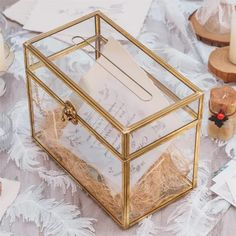 Large Foot Rectangle with Slot on Top Geometric Glass Card Box image 1 Terrarium Containers, Terrarium Ideas, Planter Ideas, Wedding Reception, Reception Table, Wedding Ideas, Money Envelopes, Small Potted Plants, Glass Boxes