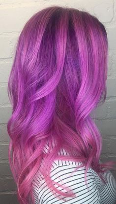 Purple and magenta mixed orchid hair color. Absolutely amazing! Color by Elle VanGestel. Save