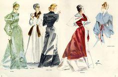 1946 Bruyere, Nina Ricci, Robert Piguet, Balenciaga, Marcelle Dormoy, Grés (Germaine Krebs); illustrator: René Gruau