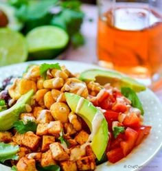 This vegetarian BBQ Tofu Fiesta Salad is smothered in sweet and spicy sauce, with Tangy Lime-Cream Dressing. Tofu Recipes, Gourmet Recipes, Salad Recipes, Vegetarian Recipes, Healthy Recipes, Healthy Dishes, Healthy Eats, Healthy Foods, Healthy Life