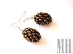 Kolczyki oliwki z koralików Twins   MH Biżuteria - cuda ręcznie wykonane