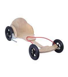 The Runna Go Kart is steered with your feet and hands using the rope provided and there is a hand brake situated next to the seat. Great summer fun!!