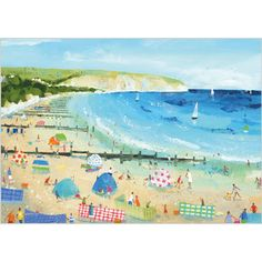 Claire Henley - Swanage Beach - The Mulberry Tree Gallery Dog Cards, Kids Cards, Art In The Park, Good Luck Cards, British Seaside, Mulberry Tree, Beach Cards, Les Cascades, Seaside Beach