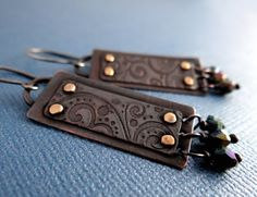 Rustic Riveted and Etched Copper Earrings by Lost Sparrow Jewelry