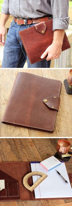 The Vanderbilt Portfolio is handmade right here in our shop with the finest of Full Grain American leathers. We hand pick our leather hides from a local tannery ~ for a rustic look and feel. This is a gift that will be used and loved for a lifetime! Perfect for the executive, professional, father, or dear friend in your life.
