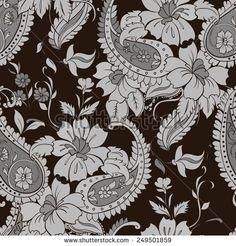 Vector flower paisley seamless pattern element.