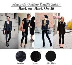 All Black Black Outfit Ideas - Leather, lace, flat black (great textures)