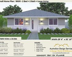 Small 2 Bedroom House Plans Fresh 2 Bedroom House Plan 968 Sq Feet or 90 2 Small Home Modern House Floor Plans, Simple House Plans, Home Design Floor Plans, Country House Plans, House Plans For Sale, Tiny House Plans, Small Cottage House Plans, Backyard Cottage, Flat House Design
