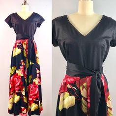 99c3865cfd Tori Richard 1970s Vintage 70s Garden Party Black Rose Floral Maxi Dress 36  bust 1970s Dresses