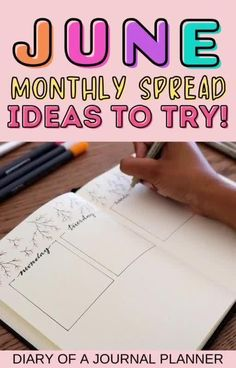 Make your bullet journal June monthy spread stunning by taking inspiration from our list of 30+ monthly spread ideas! #monthlyspread #junebulletjournal #bujo Bullet Journal June, Goal Journal, Bullet Journal Monthly Spread, Bullet Journal Hacks, Bullet Journal Printables, Journal Prompts, Journal Pages, Bujo Monthly Spread, Teaching Sight Words