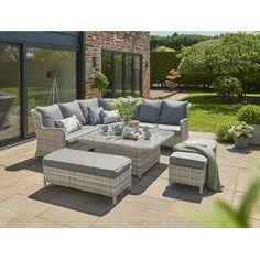 Garden Sofa Sets You'll Love | Wayfair.co.uk Rattan Corner Sofa Set, Garden Sofa Set, Large Chair, Lounge, Outdoor Furniture Sets, Outdoor Decor, House Design, Interior, Home Decor