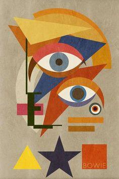 Bowie Bauhaus THREE, David Bowie Portrait (2016) Unique Monoprints 1/1 - Big Fat Arts | BFA Gallery | Czar Catstick - 1