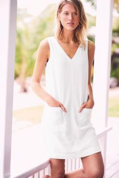 Comprar Vestido blanco en mezcla de lino en Next España