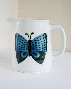 Vintage Retro Arabia Finland Butterfly Design Milk Jug 60s Kaj Franck? Pitcher