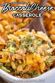 French Onion Broccoli Cheese Casserole - Only 5 ingredients - broccoli, cream of mushroom soup, french onion dip, cheddar cheese, and french fried onions. Broccoli Cheese Casserole Easy, Onion Casserole, Vegetable Casserole, Broccoli And Cheese, Casserole Recipes, Chicken Broccoli, Quick Side Dishes, Vegetable Side Dishes, Side Dish Recipes