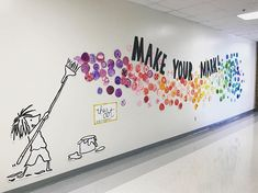 """How will your students make their mark? with ・・・ This week our student made their """"mark"""" as a reminder to never give up and to help motivate and encourage each other! Project inspired by """"The Dot""""📚and display inspired by 👩🏼🎨🎨💕 School Hallways, School Murals, School Displays, Classroom Displays, Book Displays, Library Displays, Teaching Displays, Art Classroom Decor, Art Bulletin Boards"""