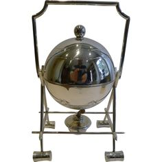 Rare Antique Novelty Croquet Egg Coddler In Silver Plate c.1900