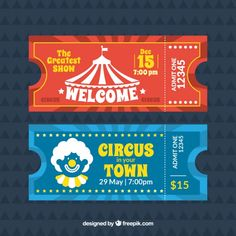 Circus Tickets, Party Tickets, Yearbooks, Envelopes, Layout Design, Barbie Dolls, Coupons, Vector Free, Mickey Mouse