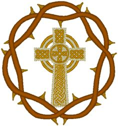 Celtic Cross & Crown of Thorns Embroidery Design.