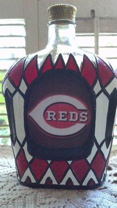 Cincinnati Reds Crown Royal bottle Hand Painted Glass OOAK on Etsy, $75.00