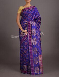 Shreya Royal Lotus On Platter Pure Banarasi Tussar Silk Saree
