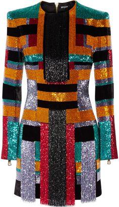 Balmain Color-block beaded velvet mini dress- 7112style.website -