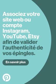 Associez votre site web ou compte Instagram, YouTube, Etsy sur Pinterest Site Web, Techno, Ecommerce, Internet, Job, Social Media, Mail Art, Website, Business