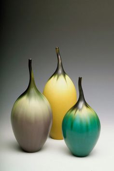 Jan Bilek ceramic, Teal Striped Bottle