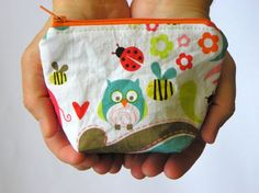 Owl and Zebra Coin Purse with zipper by Magiedimemi on Etsy, $10.00