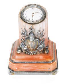 Fabergé silver-mounted hardstone timepiece, workmaster Julius Rappoport, St Petersburg, circa 1890