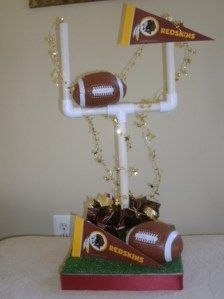 Styrofoam, pcv pipe, custom colors and team banners and presto - banquet centerpieces