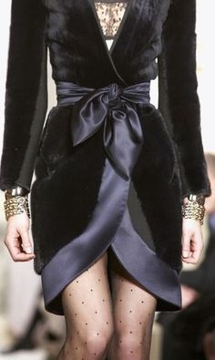 Velvet dress by Balenciaga - I like the polka dot nylons paired with the dress.