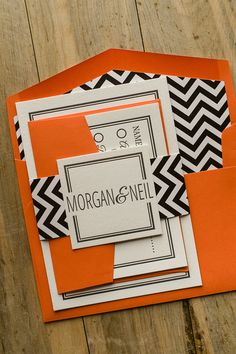 EMMA Suite Cutie Package, coral, black and white chevron, cute wedding invitations, letterpress wedding invitations. Eat, Drink, and Be Married