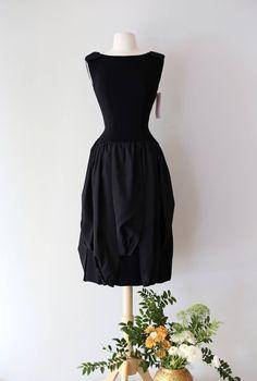 Vintage 1950s Nat Kaplan Black Cocktail Dress ~ Vintage 50s Avant Garde Designer Cocktail Dress With Panel Skirt by xtabayvintage on Etsy