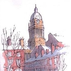 Leeds Town Hall from Park Square ~ sketch