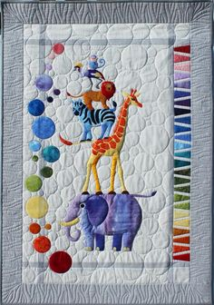 Safari Slumbers Cot Quilt or Play rug Quilt Pattern by Sue Duffy Designs featuring African Zoo animal friends at Textiles Make this Baby Quilt, Cot Quilt or Play rug. This gorgeous Safari Slumbers quilt pattern is hard to Patchwork Quilting, Applique Quilts, Longarm Quilting, Machine Quilting, Quilting Projects, Quilting Designs, Sewing Projects, Quilting Ideas, Sewing Tips